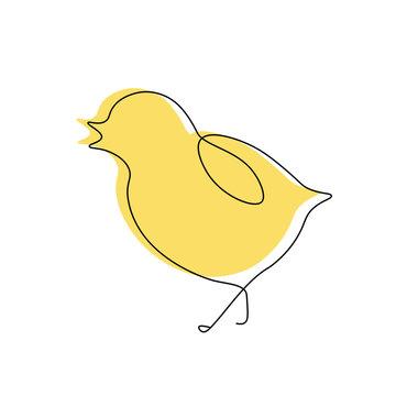 Cute bird chick one line draw, vector illustration.