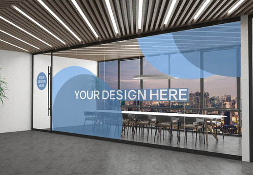 Modern Office With Glass Wall Mockup