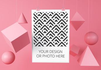 Vertical Poster in Geometric Scene Mockup