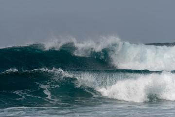 Foto op Plexiglas Onweer Capo Verde ocean waves seen from the beach