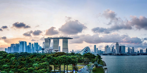 Gardens by the Bay in front of Marina Bay Sands in Singapore Fototapete