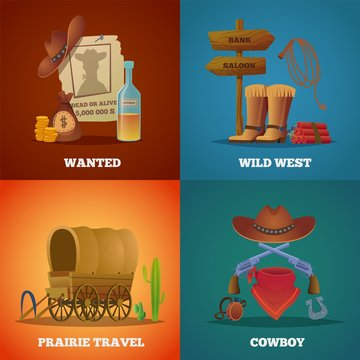 Wild west collections. Western cowboys horse lasso saloon and guns vector symbols. Poster of wanted in wild west, cowboy and prairie travel, dynamite and gun illustration