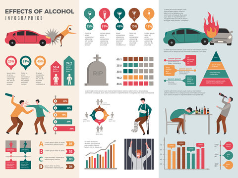 Alcoholism infographics. Dangerous drunk driver alcoholic health vector template with graphics and charts. Effect of alcohol infographic, driver acciden illustration