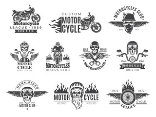 Motorcycle labels. Biker badges with speed symbols engine motor race chopper skull and fire vector pictures collection. Chopper engine, skull in helmet, garage classic emblem illustration