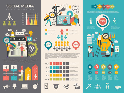Social media infographic. Work people socializing like rating sharing vector graphic social design template. Social media stats information illustration