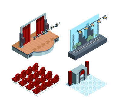 Theater stage isometric. Opera ballet hall interior red curtain actors theater seat vector collection. Curtain and scene, interior of stage theatre illustration
