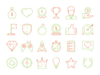 Gamification icons. business achievements line icon set for competitive office managers, advantage vector thin linear badges, levels and rewards. Competition game, gamification business goal