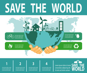 Save the world infographic, save planet, Earth Day,recycling, Eco friendly, ecology concept, isolated on white background vector illustration