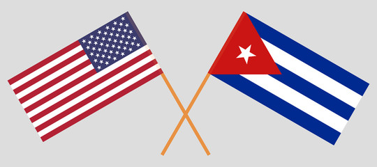 USA and Cuba. The United States of America and Cuban flags. Official colors. Correct proportion. Vector