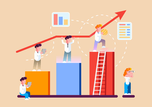 Strategy of long term planning vector illustration. Businessman building up analyzing project financial report and successful business development.