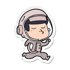 sticker of a cartoon confident astronaut running