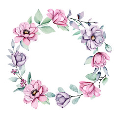 Wreath with peonies , watercolor pink and violet flowers. Floral summer frame isolated on white background. Hand drawing. Perfectly for wedding, birthday, party, other greetings design.
