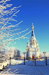 Russia, St. Petersburg, March 21, 2018, Church of the Holy Martyr Queen Alexandra on the Babigonsky hills