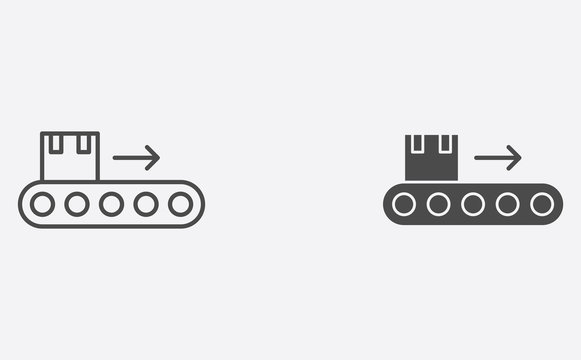 Conveyor outline and filled vector icon sign symbol