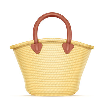 Straw shopping bag. Eco wicker basket for products. Chaff handbag. Isolated white background. Eps10 vector illustration.