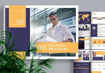 Business Brochure Layout with Purple and Orange Accents