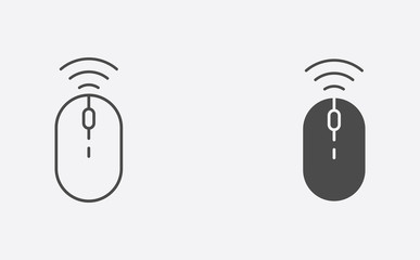 Mouse outline and filled vector icon sign symbol