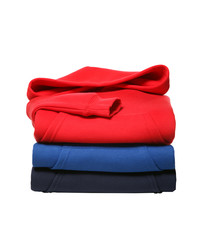stack of hooded sweater isolated on white