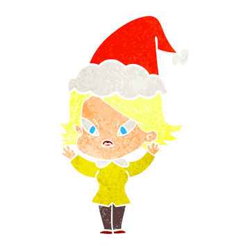 retro cartoon of a stressed woman wearing santa hat