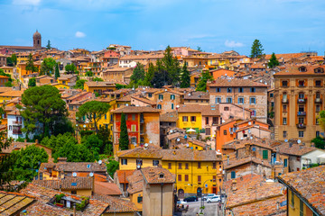 Perugia, Italy - Panoramic view of the Perugia historic quarter with medieval houses and academic quarter of University of Perugia and other academies