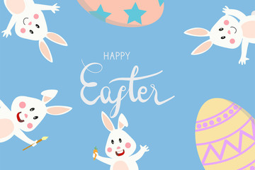 happy easter lettering with bunny rabbit and easter egg, hold carrot and wave hand. Concept for banner, poster, greeting card for Easter festival in vector