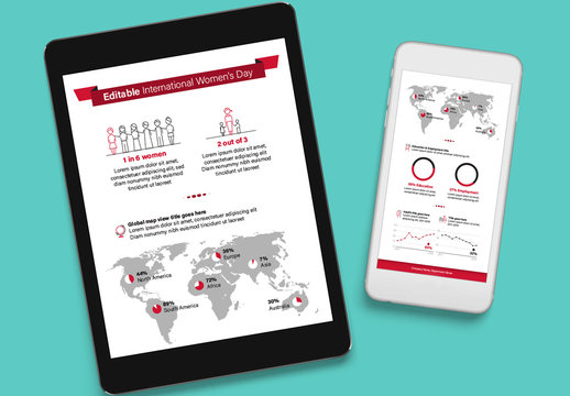 Editable International Women's Day Infographic with Red Accents