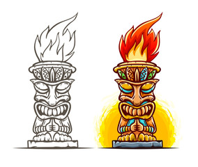 Tiki traditional hawaiian tribal mask with human face and burning fire. Wooden totem symbol, god from ancient culture of Hawaii. Hand drawn in cartoon style, isolated on white. Eps10 illustration.