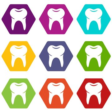 Wisdom tooth icons 9 set coloful isolated on white for web