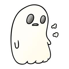 gradient cartoon of a kawaii cute ghost