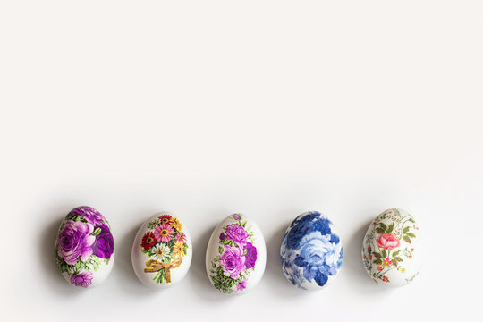 Decorated easter eggs with copy space