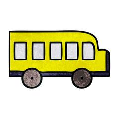 retro grunge texture cartoon school bus