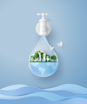concept of eco and wolrd water day with family