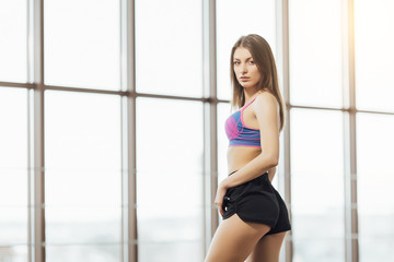 23976d7f5a Slender beautiful girl is engaged in sports