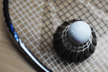 closeup of shuttlecock on badminton racket