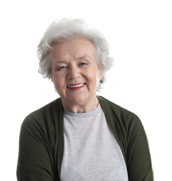 Portrait of mature woman isolated on white