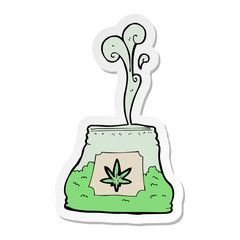 sticker of a cartoon bag of weed