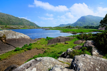 View of Upper Lake and peaks in Killarney National Park, Ring of Kerry, Ireland