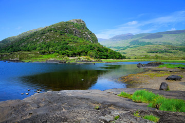 View of Upper Lake and mountain in Killarney National Park, Ring of Kerry, Ireland