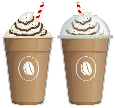 Vector illustration of a frappe coffee drink in a take-out cup, with and without a plastic lid.