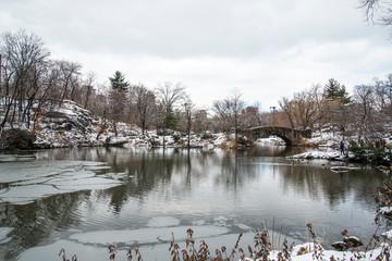 stone bridge in the winter