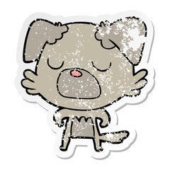distressed sticker of a cartoon dog