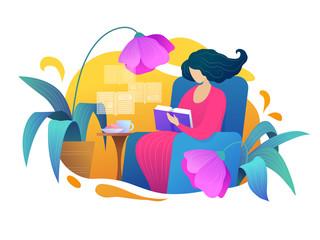 Love reading bright vector illustration