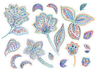 Watercolor drawing : Paisley Style