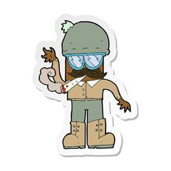 sticker of a cartoon man smoking pot