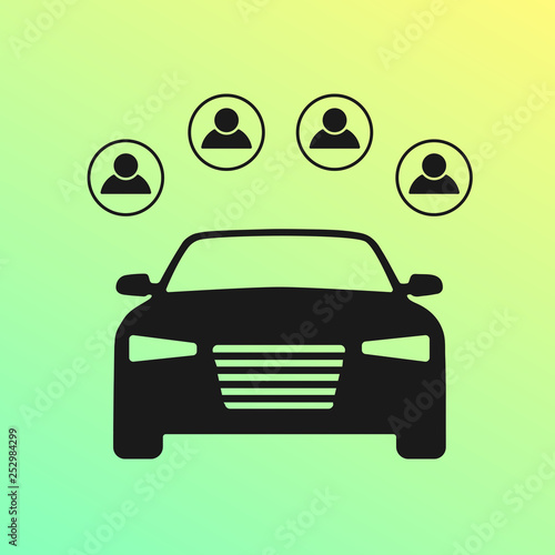 Car Sharing Flat Icon Carsharing Service Symbol Four People