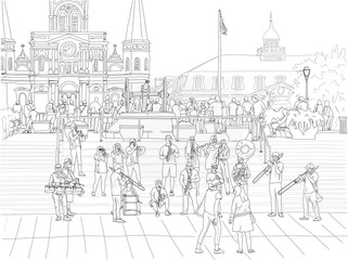 Hand drawn illustration. A big brass band performs jazz music to a crowd in Jackson Square in the French Quarter, with the St. Louis Cathedral in the distance. Fotomurales