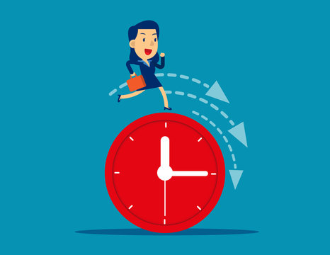 Businesswoman running on clock representing deadline. Concept cute business vector illustration. Time Management, Leadership.