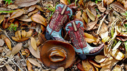 Pair of cowboy boots and hat laying in the grass with brown leaves