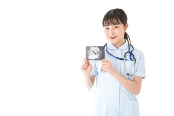 エコー写真を持つ産婦人科のナース