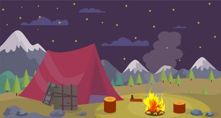 Vector Flat Night Camping Mountains Burn Campfire.